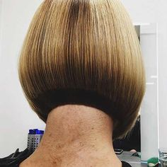 Credit to Back view of this Graduated Bob To have your hair featured please tag Short Bob Haircuts, Cool Haircuts, Bob Hairstyles, Shaved Bob, Shaved Nape, Pixie Cut, Bob Haircut Back View, Short Hair Cuts, Short Hair Styles