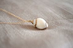 Gold Trim White Shell Necklace Gold Filled Chain by sunlaces, $30.00