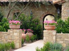 Geranium Pots in Tuscany Courtyard