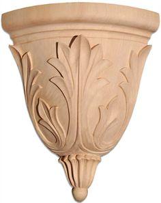 corner brackets - Dixon hardwood corner-brackets crafted with traditional rising leaf motif. This wood bracket designed specifically for corner application