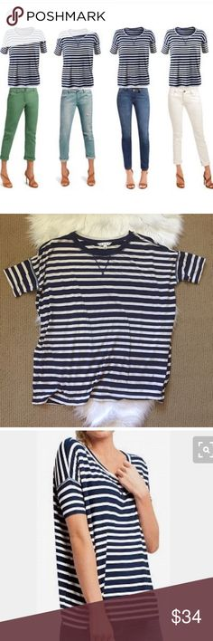 "Cabi #769 Sailing Navy and White Striped Top Oversized nautical navy striped top by Cabi. Lots of stretch and comfort. A classic staple! ▪️Size Small ▪️96% rayon 4% spandex ▪️24"" armpit to armpit flat across ▪️26"" shoulder to hem. In great condition! CAbi Tops Tees - Short Sleeve"
