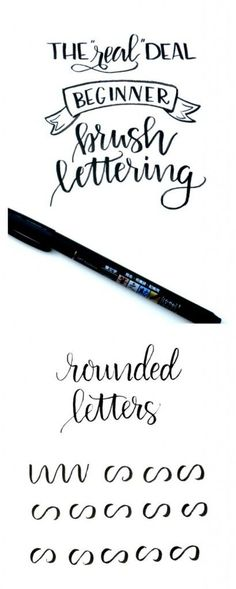 Beginner Brush Lettering: Rounded Letters This third post in the Beginner Brush Lettering Series will walk you through how to create rounded letters. Hand Lettering Tutorial, Hand Lettering Fonts, Calligraphy Handwriting, Doodle Lettering, Creative Lettering, Lettering Styles, Calligraphy Letters, Typography Letters, Brush Lettering