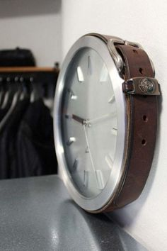Give a cheap wall clock a rustic look with a thick old belt