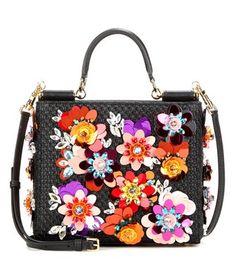 Dolce & Gabbana - Borsa a tracolla Sicily Shopping Small con decorazione -