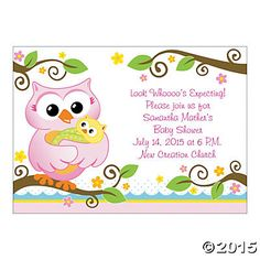 Owl Baby Girl Baby Shower Invitations by AmysCupcakeToppers on Etsy https://www.etsy.com/listing/227250456/owl-baby-girl-baby-shower-invitations