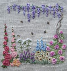 My own design with inspiration from Lorna Bateman and Kris Richards Garden Embroidery, Floral Embroidery Patterns, Hand Embroidery Flowers, Wool Embroidery, Hand Embroidery Stitches, Embroidery Hoop Art, Hand Embroidery Designs, Ribbon Embroidery, Cross Stitch Embroidery