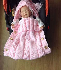 Baby Hand Knitted Sleeping Bag / Sack For Car seat, Pram, Moses Basket 0-3 Month