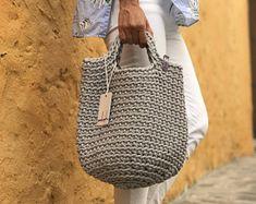 Crochet Tote Bag Knitted Handbag OLIVE color Modern Scandinavian Style