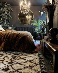 Gorgeous image by with our Berber rug - such a gorgeous dark and mood. - Gorgeous image by with our Berber rug – such a gorgeous dark and moody bedroom - Dark Paint Colors, Bedroom Paint Colors, Bedroom Inspo, Home Decor Bedroom, Bedroom Ideas, Master Bedroom, Dark Home Decor, Bedroom Rugs, Bedroom Bed