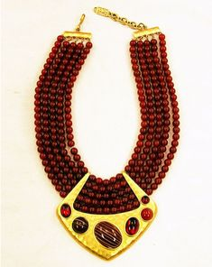 vintage ysl carnelian and agate necklace
