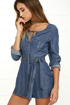 Somedays Lovin' Karlie Blue Chambray Romper is the ultimate in chic all in one…