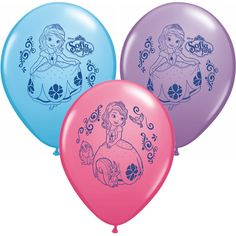Have a grand time at your birthday party with these fun 12'' Sofia the First latex balloons. Includes 6 latex balloons in pink, blue, and lavender.