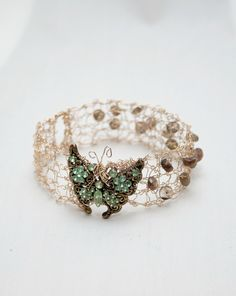 #TakehART Butterfly Bangle Bracelet - Wire Knitted Jewelry - Size S
