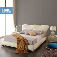 Neville Brand modern leather bed soft bed Leather Beds 1.8 2 meters bedroom genuine marriage bed BD68- Taobao