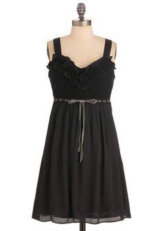 Lavender Lemonade Dress in Black - Mid-length, Casual, Black, Crochet, Ruffles, Empire, Spaghetti Straps