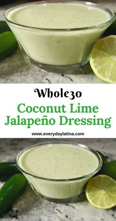 Simple, fast and compliant, this coconut lime jalapeño dressing elevates any salad. and drinks Coconut Lime Jalapeño Dressing - Everyday Latina Salad Recipes Healthy Lunch, Healthy Junk, Yummy Snacks, Healthy Meals, Sauce Recipes, Paleo Recipes, Cooking Recipes, Mexican Recipes, Latina