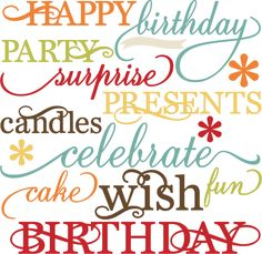 Birthday Words Set SVG cutting files for scrapbooking paper crafts birthday svg cuts