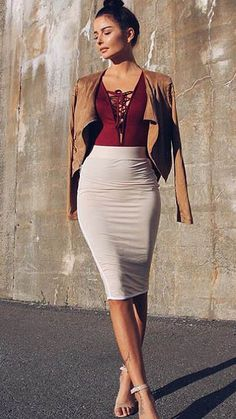 Flawless outfit; String along burgundy bodysuit at fashionnova.com; beige pencil skirt (similar) ASOS Pencil Skirt in Double Layered Jersey; Shoes-Nude sandals (similar) Sam Edelman; Jacket  (similar) Tara moto jacket BCBG