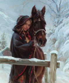 """Wrapped in Winter"" - Daniel Gerhartz {contemporary figurative artist beautiful female with horse snow woman painting} Cold !! danielgerhartz.com"