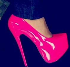 Hot pink heels these can go with that MK watch i pinned and a plain white shirt, skinny jeans, and the makeup with the pink mascara and you'll look fabulous<3