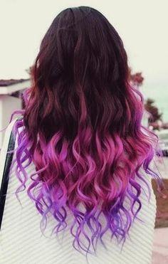 purple ombre hair Hair Styles for Girls Dip Dye Hair, Dye My Hair, Dip Dyed Hair Brown, Brown Hair Dyed Purple, Ombre Hair Dye, Ombre Bayalage, Long Purple Hair, Ombre Wigs, Burgundy Hair