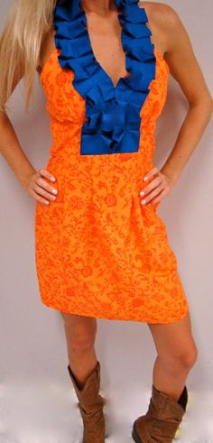 Miss Charming Natalie Kim Gameday Dress in orange and blue $100.00