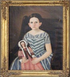Girl with Doll Painting - Unknown
