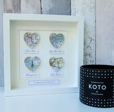 Personalised Map Hearts Story Picture Anniversary Gift