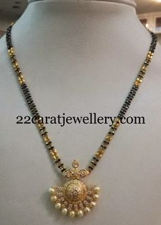 Jewellery Designs: Black Beads CZ Necklace