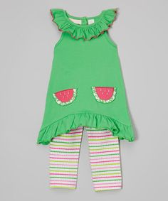 Green Watermelon Tunic & Capri Leggings - Infant, Toddler & Girls