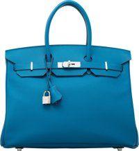 Hermes 35cm Blue Izmir Epsom Leather Birkin Bag with Palladium Hardware R Square, 2014 Excellent to Pristine Condition...