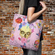 Cotton tote bag Original art bag Impermanence shopping bag Pink skull bag Skull printed tote bag Hipster fashion Long handles bag