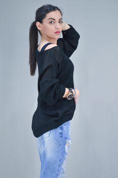 Γυναικείο πουλόβερ oversize.   Πλεκτά - Πλεκτά και ζακέτες - Μαύρο Turtle Neck, Pullover, Sweaters, Fashion, Moda, Fashion Styles, Sweater, Fashion Illustrations, Sweatshirts