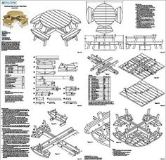 Classic octagon picnic table woodworking plans blueprints odf08 traditional round picnic table benches woodworking plans odf04 outdoor furniture woodworking project plans amazon malvernweather Choice Image