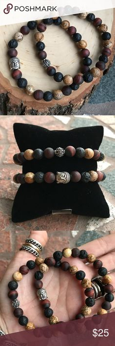 Lava rock jasper red tiger buddha bracelets set 🎁FREE GIFT WITH EVERY PURCHASE !! LET ME KNOW IF YOU WANT MEN OR WOMEN GIFT WHEN PURCHASING 🎁Men beaded bracelets set  . Price is for both bracelets 😊 Both Fits most , 7.5 to 8.5 inch wrist . Handmade by me , never worn by anyone. Made with 8mm genuine Red matte Tiger eye , 8mm jasper , 8mm black lava tock gemstones beads  .Silver plated buddha and deco charm . I ship fast !!😊✈️😉 Bundle and save !! ( 10 % off bundles ) . Any questions let…