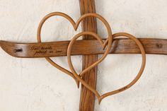 Large Wall Cross with double hearts Wall by ChucksWoodbarnNE, $650.00