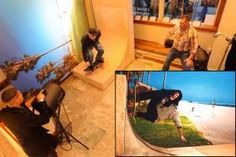 Interactive photo booth installations allowed visitors to enter the worlds of well-known films that originally premiered at the festival, including Dogtown and Z-Boys. The photo station had guests stand on a skateboard set next to a sideways backdrop of Santa Monica beach; the printed photographs were then turned horizontally to make it look like guests were captured mid-trick on a skateboard ramp.