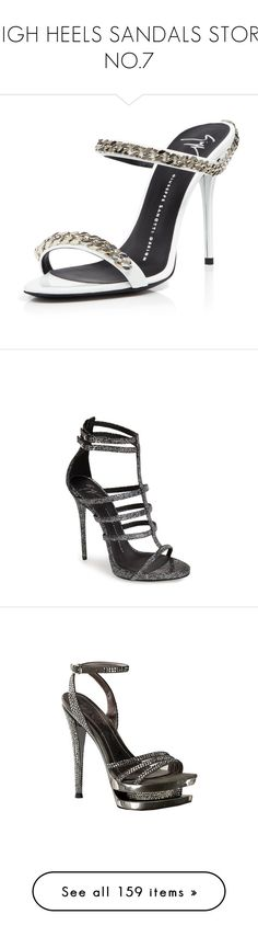 """""""HIGH HEELS SANDALS STORE NO.7"""" by eve-stardust on Polyvore featuring shoes, sandals, bianca, chain sandals, open toe high heel sandals, giuseppe zanotti shoes, slide sandals, high heel shoes, heels and calçado"""