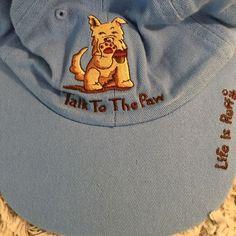 Life is Ruff Baseball Cap Talk To The Paw Scottie Dog Lover Blue Adjustable Hat #LifeisRuff #BaseballCap