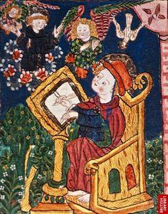 99-SIBILLA VON BONDORF-Nell'illustrazione,di SIBILLA,si vede Bonaventura mentre scrive il suo testo e ha la visione di S.Francesco che gli mostra le stimate.