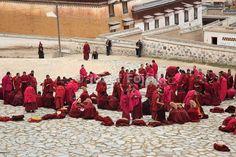 Monks in Labrang Monastery, Xiahe County, Gannan Tibetan Autonomous Prefecture, Gansu, China