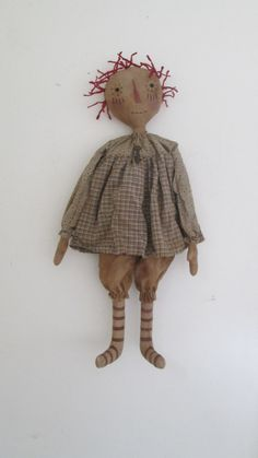 Primitive Raggedy with Key by Bettesbabies on Etsy