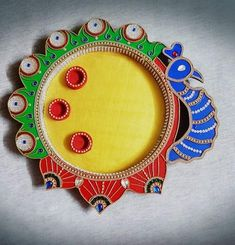 Clay Crafts, Wood Crafts, Arts And Crafts, Festival Decorations, Wedding Decorations, Arti Thali Decoration, Acrylic Rangoli, Holi Colors, Diwali Craft