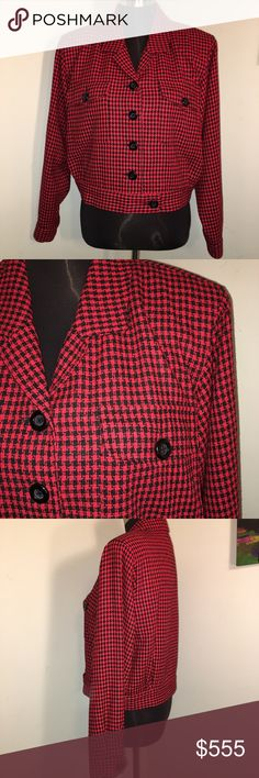 ‼️COMING SOON‼️Red & Black Silk Houndstooth Jacket Description to come. Please like for notification when item is available for purchase. Thanks and Hapoy Poshing!! 💝😊🛍 Ann May Jackets & Coats Blazers