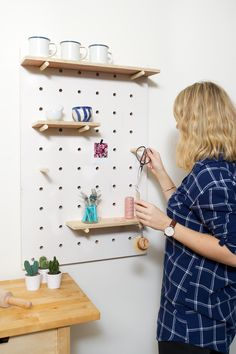 DIY pegboard for a kitchen, hallway or studio.