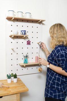 DIY pegboard for a kitchen, hallway or studio.