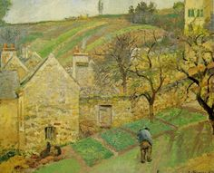 Camille Pissarro - Hermitage Hill, Pontoise at Musée d& Paris France Pissaro Paintings, Camille Pissarro Paintings, Post Impressionism, Impressionist Paintings, Paris France, Gustave Courbet, Art Through The Ages, Claude Monet, French Art