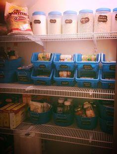 22 Dollar Store organizatonal hacks. Keep your pantry in shape with plastic bins.
