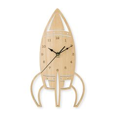 These natural wooden clocks will compliment any childs room.   • Measures 37.5cm high x 21cm wide • Laser cut from Bluegum Veneer (Sourced from      sustainable forests) • Quartz movement with soft ticking sound • Numbers are etched into the wood • Black hour, minute & second hands • Comes with a hook for easy hanging • Can be left natural or can be painted, stained or         varnished to match your home • Requires AA battery   *Because of the natural nature of the Bluegum ...