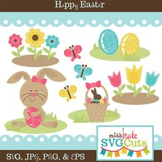 This Happy Easter Collection includes a cute Easter Bunny, an Easter basket full of a chocolate Easter bunny, eggs and grass, a set of flowers, a set of tulips, butterflies, and 3 different Easter eggs.